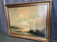 Tableau signé Willi huile sur toile Marine bâteaux Vendée Saint Jean de Monts...