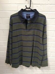 James Pringle Mens Olive Green Navy Stripe Long Sleeve Rugby Polo Size Large