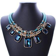 Elegant Choker Chunky Bib Crystal Choker Short  Necklace Collar Blue