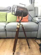 Lighting Wooden Tripod Spot Light Vintage Antique Finish Shaded Floor Lamp...