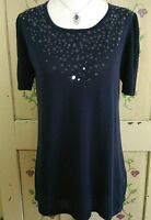 Eric Alexander Short Sleeve Thin Knit Sweater Womens Size L Clear Sequin Blue