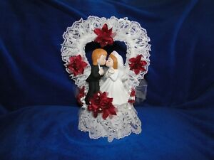 New Kissing Bride & Groom Cake topper with lacey heart and burgandy flowers
