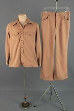 Men's 1970s Tan Leisure Suit Jacket L 42 Long Pants 31x30 70s Vtg Polyester