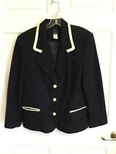 Panther Women's Suze 14, Navy & Cream Blazer  100% Wool Fully Lined Long Slee