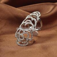 Punk Rock Silver Crystal rhinestone Rose Flower Knuckle Hinged Finger Ring