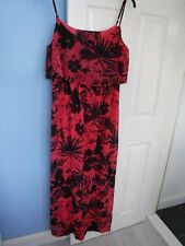 NEW LOOK WOMAN'S CORAL AND BLACK DRESS SIZE UK 18 EUR 46 VGC