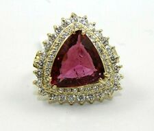 Trillion Pink Tourmaline & Diamond Halo Solitaire Ring 14k Yellow Gold 7.76Ct
