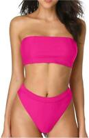 Dixperfect Sexy Bikini Set Swimwear Classic Bandeau Tube Top, Pink, Size Large