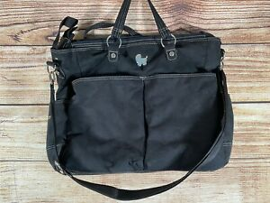 """Carters Everyday Tote Diaper Baby Bag Black Suede Leather Lined 17"""" x 18"""" EUC"""