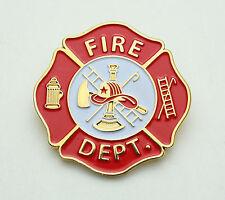 "New First Responder FD Red Fire Department Badge Pin 1-1/4"" Diameter"