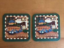 Set of 2 Longaberger Christmas Basket Cork Coasters