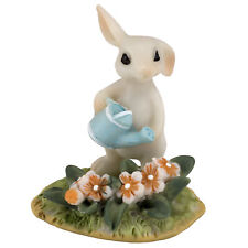 "Miniature White Bunny Rabbit Watering Flowers Figurine 1.75"" High New In Box!"