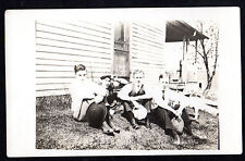 RPPC c 1910 BOYS Young Men HATS IN HANDS House WATER PUMP Real Photo Postcard