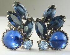VINTAGE JULIANA BLUE RHINESTONE CLIP EARRINGS