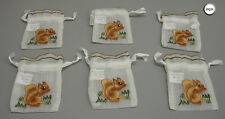 Six Red Squirrel Embroidered Gift Drawstring Favour Gift Bags Zq31