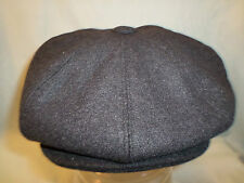MENS HAT BLACK OR GREY PEAKED PEAK 8 PIECE NEWSBOY BAKER BOY 8-PANEL GATSBY CAP