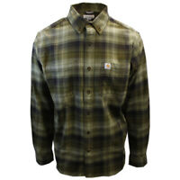 Carhartt Men's Relaxed Fit Bayleaf Green Plaid L/S Woven Shirt (370A)