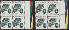 1973-74 Gemstones 9c on 8c Opal matched marginal blks 4 w/ colour bars, variety