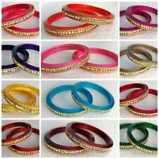 Bollywood Indian 12 Colours Kids Baby 2x Bangles Size 1.08 Acrylic CZ AD