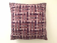 MULTI TONE PURPLE CROSS WOVEN GROSGRAIN RIBBON DESIGNER THROW PILLOW