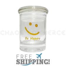 BE HAPPY Airtight Smell Proof Spice Herb Storage GLASS STASH JAR 1/8 oz