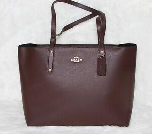 COACH 69424 Pebbled Leather Central Tote Zip Shoulder Bag Purse Handbag Oxblood