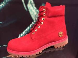 TIMBERLAND 6 Inch PREMIUM 40th Ruby Red FIRE Waterproof Suede Leather Snow BOOTS