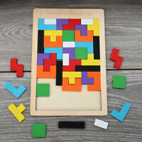 40 Piece Wooden Puzzle Jigsaw Tetris Early Learning Baby Kids Educational Toys