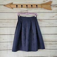 Allegra K   Navy Blue Jacquard Pleated High Waist A-Line Skirt Size Small NWT