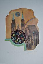 Gegenständliche Original-Lithographien (1950-1999) mit Architektur-Motiv