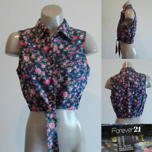 FOREVER 21 Floral Denim Tie-Front Crop Shirt - SIZE 10 APPROX