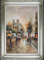 Framed Oil Painting On Canvas, Signed Paris City Landscape, de Notre-Dame View