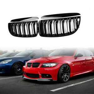 For 05-08 BMW 3 Series E90 E91 Gloss Black Front Kidney Dual Slat Grill Grille