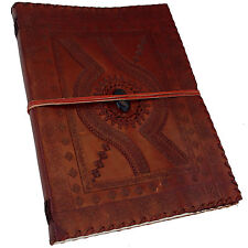 "Real Leather Handmade Embossed Sketchbook Scrapbook Journal 13""x10"" - Blue Stone"