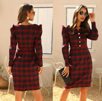 Womens Long Puff Sleeve Checked Plain Midi Dresses Ladies Summer Beach Sun Dress