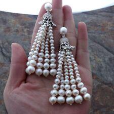 K122415 White Pearl Tassel CZ Pave Earrings