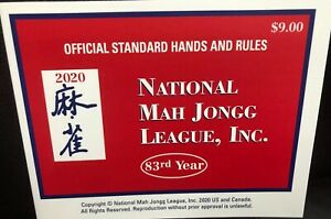 2020 National Mah Jongg League ~LARGE~ Official Standard Hands & Rules Cards