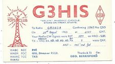 YORKSHIRE - CHEADLE nr STOKE on TRENT, 1963 Q.S.L Radio Confirmation Card G3HIS
