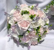 Large Wedding Posy Bouquet & Baby  Pink & White Roses & Berries & Lavender