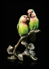 Lovebirds Hand Painted Solid Bronze Foundry Cast Sculpture Keith Sherwin [970]