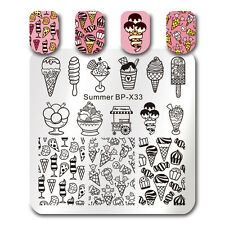Nail Art Stamping Plates Summer Ice Cream Image Printing Template Born Pretty