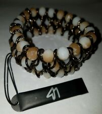 Lane Bryant Stretch Stone Beads & Bronze Toned Chain Bracelet New with Tag