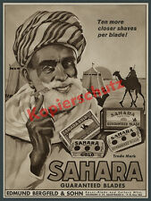 Advertising Berg field & Son Sahara-Blades Solingen Steel Montan Orient Desert 1933