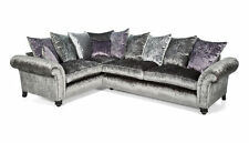 "MARILYN GLITZ CORNER  SILVER CRUSHED VELVET SUITE  ""MANY COLOURS AVAILABLE"