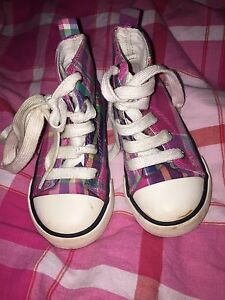 Ralph Lauren Polo Pink Check Canvas Boots Girl Uk 5.5 Eur 22 Lace Up