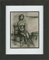Peter Collins ARCA - 20th Century Charcoal Drawing, Seated Nude Figure