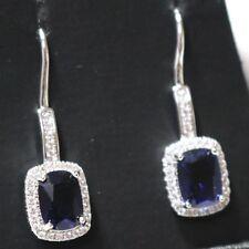 Cushion Blue Sapphire Earrings Drop Jewelry Women Wedding Anniversary Gemstone