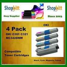 4Pack Bk/C/M/Y Compatible Toner Cartridges for Oki C301 C321 MC342DNW Printer
