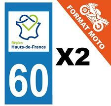 2 AUTOCOLLANTS PLAQUE IMMATRICULATION MOTO DEPT 60 REGION Haut de France