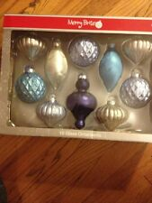 NWT 2 BOXED MERRY BRITE BLUE AND SILVER AND OTHER BOXED GLASS ORNAMENTS SETS